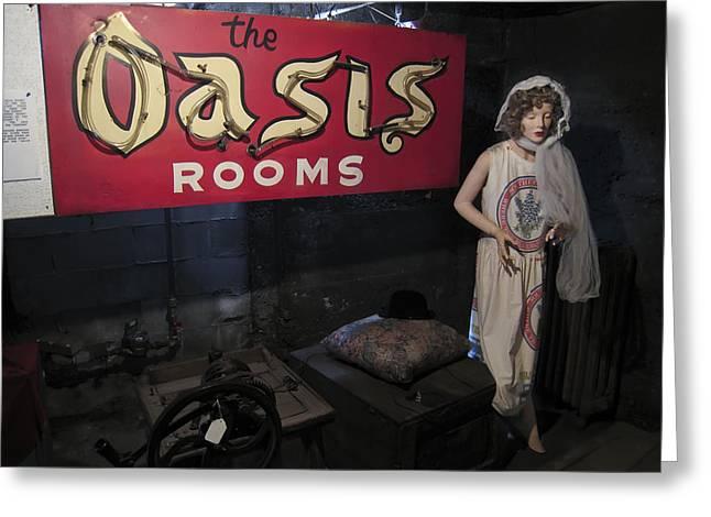 OASIS BORDELLO BASEMENT - WALLACE IDAHO Greeting Card by Daniel Hagerman