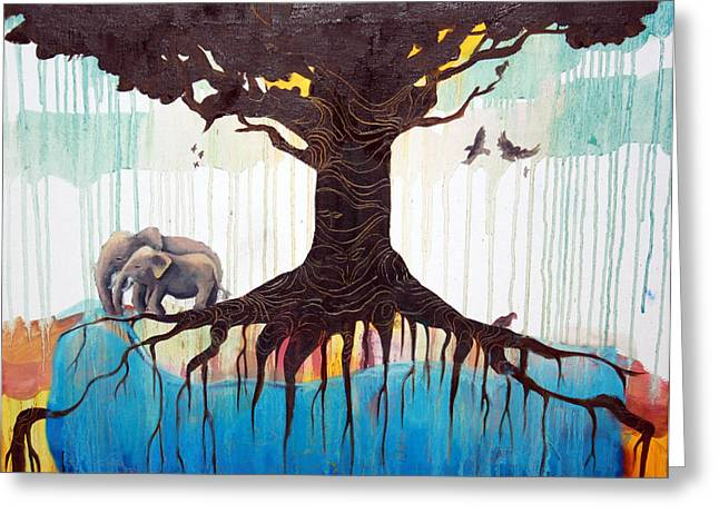 Tree Roots Paintings Greeting Cards - Oasis Greeting Card by Jessamyn Hoshikawa