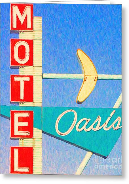 Tulsa Oklahoma. Architecture Greeting Cards - Oasis Motel Tulsa Oklahoma Greeting Card by Wingsdomain Art and Photography