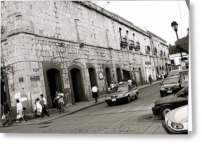 Oaxaca Greeting Cards - Oaxaca escena de la calle Greeting Card by Michael Peychich