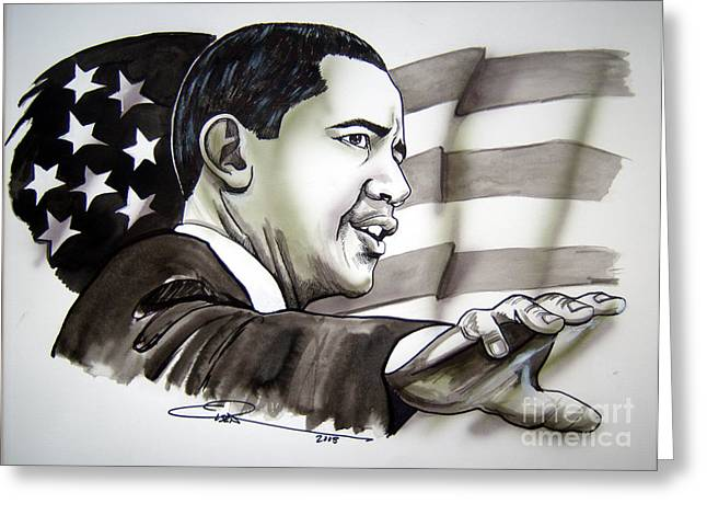 Presidential Drawings Greeting Cards - Obama 2008 Greeting Card by Dave Olsen