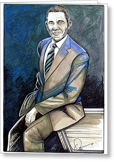 President Of America Drawings Greeting Cards - Obama 2012 Greeting Card by Dave Olsen
