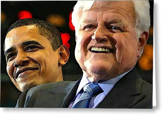 Obama and Kennedy Greeting Card by Gabe Art Inc