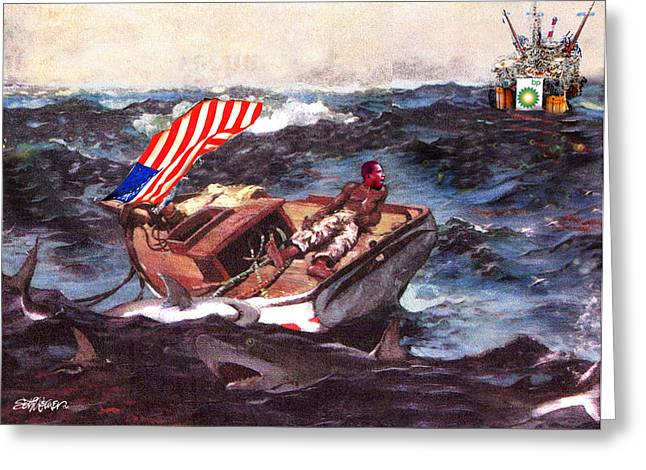 Winslow Homer Mixed Media Greeting Cards - Obama at Sea Greeting Card by Seth Weaver