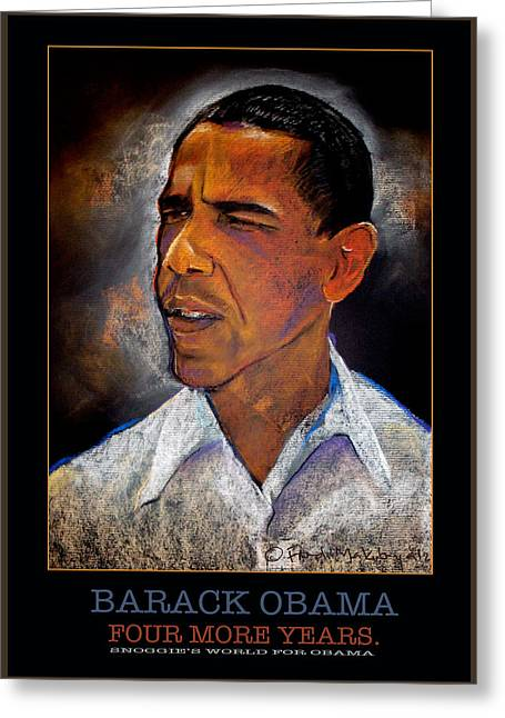 2012 Election Greeting Cards - Obama Four more years Greeting Card by Fred Makubuya