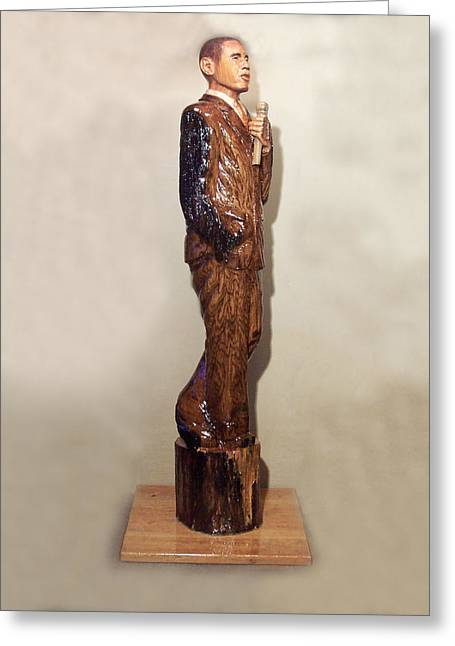President Obama Sculptures Greeting Cards - Obama in a Red Oak Log Greeting Card by Robert Crowell