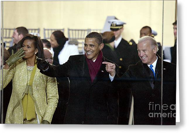 Vice President Biden Greeting Cards - Obama Inaguration, 2009 Greeting Card by Granger