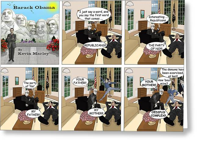 Michelle Obama Digital Greeting Cards - Obama N Freud II Greeting Card by Kevin  Marley