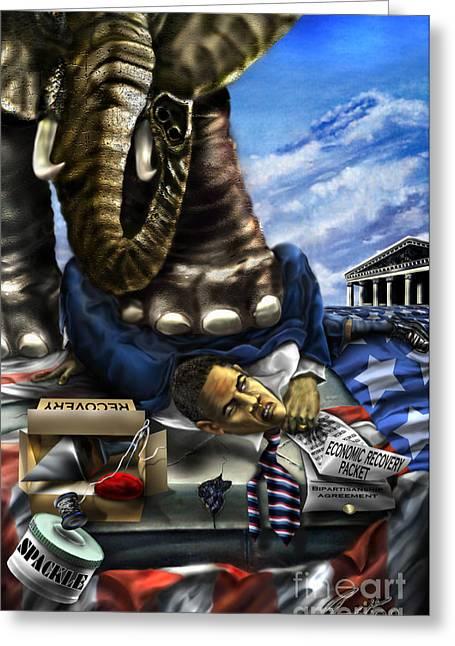Republican Digital Art Greeting Cards - Obama Greeting Card by Reggie Duffie