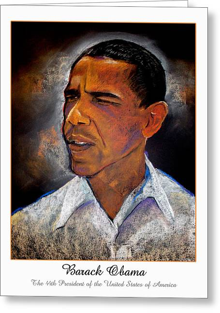 Barack Obama Pastels Greeting Cards - Obama. The 44th President. Greeting Card by Fred Makubuya