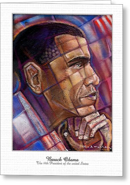 Barack Pastels Greeting Cards - Obama. The Thinker Greeting Card by Fred Makubuya
