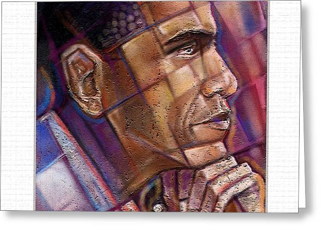Obama. The Thinker Greeting Card by Fred Makubuya