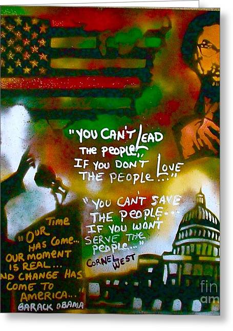 Conservative Greeting Cards - Obama vs. Cornel Greeting Card by Tony B Conscious