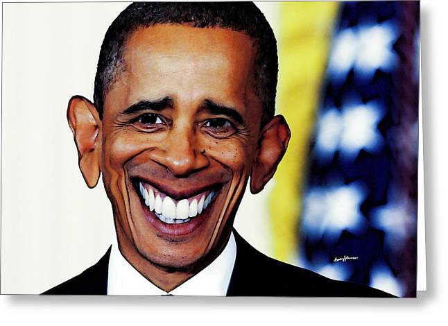 Presidential Elections Greeting Cards - ObamaCaricature Greeting Card by Anthony Caruso