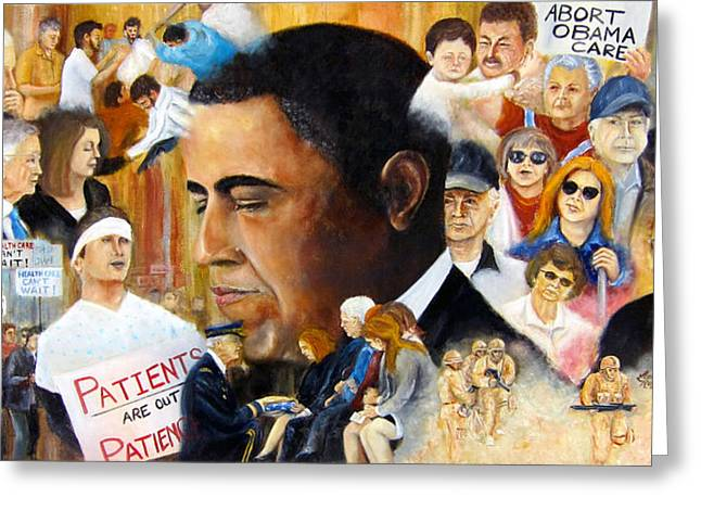 Reform Paintings Greeting Cards - Obamas Full Plate Greeting Card by Leonardo Ruggieri