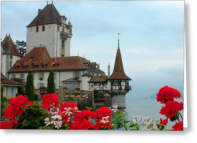 Oberhofen Castle With Flowers Greeting Card by Marilyn Dunlap