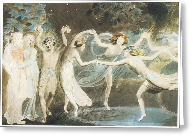 Puck Paintings Greeting Cards - Oberon Titania and Puck with Fairies Dancing Greeting Card by William Blake