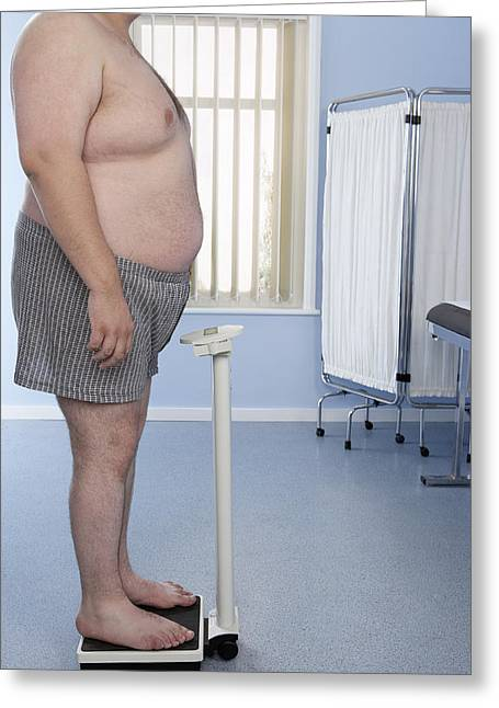 Checkup Greeting Cards - Obese Man Greeting Card by Adam Gault