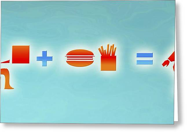 Obesity Greeting Cards - Obesity Equation Greeting Card by Christian Darkin