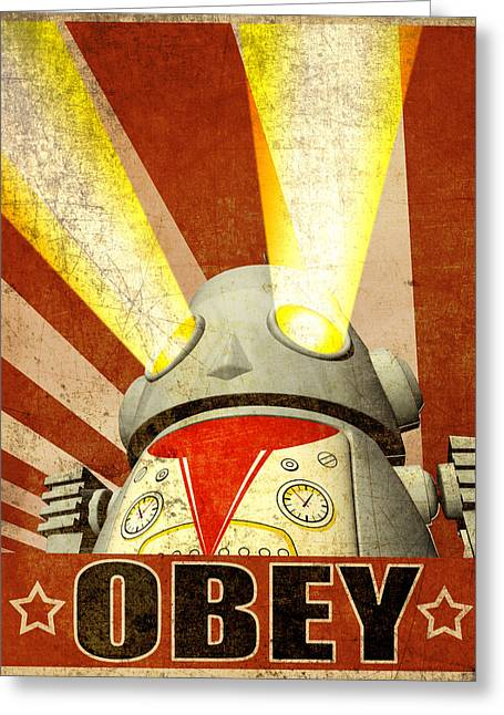 Humor Digital Art Greeting Cards - OBEY Version 2 Greeting Card by Michael Knight