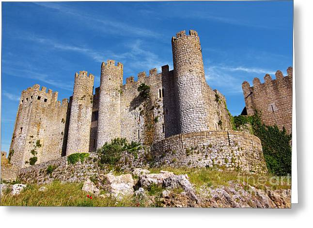 Old Stone Greeting Cards - Obidos Castle Greeting Card by Carlos Caetano