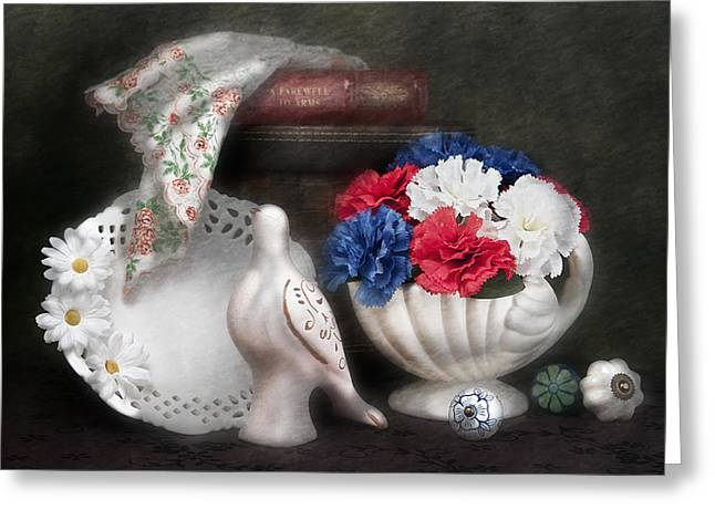 Birds With Flowers Greeting Cards - Objects in Still Life Greeting Card by Tom Mc Nemar