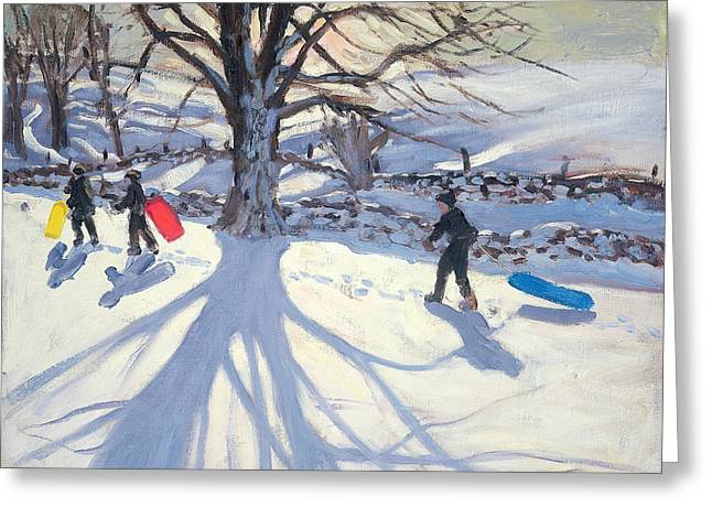 Toboggan Greeting Cards - obogganers near Youlegrave Greeting Card by Andrew Macara
