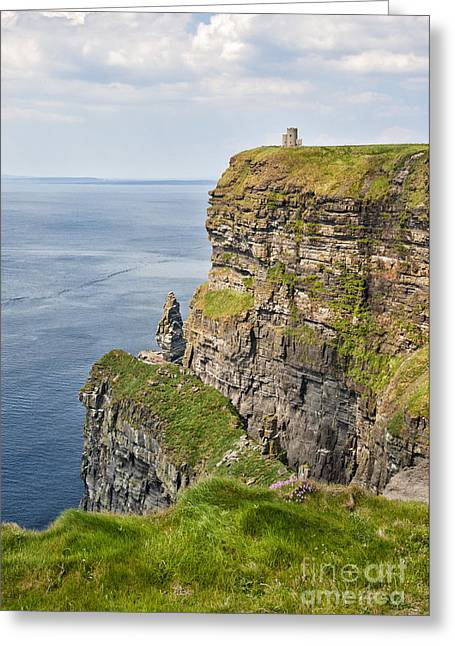O'brien's Tower At Cliffs Of Moher Greeting Card by Cheryl Davis