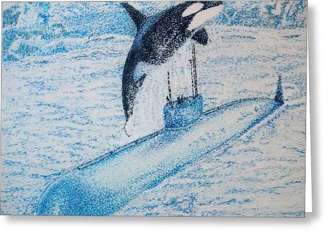 Whale Pastels Greeting Cards - Observing nature A Greeting Card by John Fierro