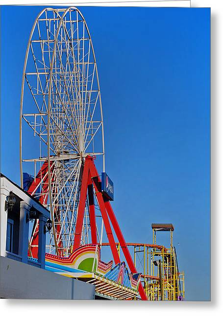 Street Fairs Greeting Cards - Oc Winter Ferris Wheel Greeting Card by Skip Willits