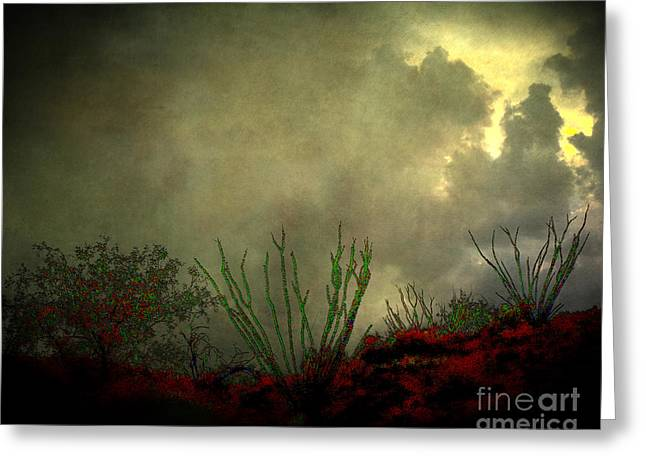 Aj Hansen Greeting Cards - Occotillo and Desert Storm Greeting Card by Arne Hansen