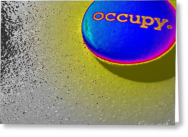 Occupy Greeting Cards - Occupy Abstract Greeting Card by Maria Scarfone