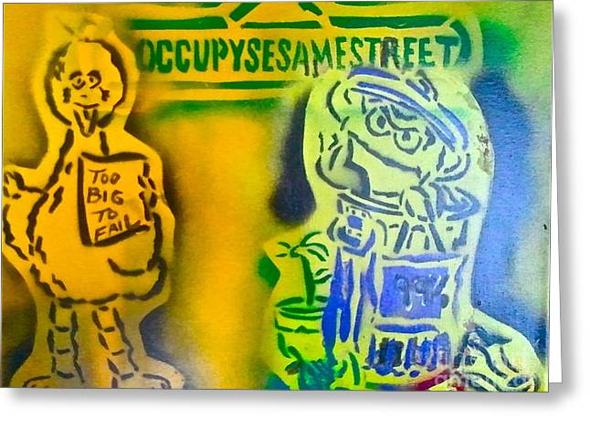 Conservative Greeting Cards - Occupy Big Bird and Grouch Greeting Card by Tony B Conscious