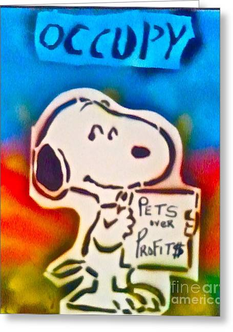 First Amendment Greeting Cards - Occupy Snoopy Greeting Card by Tony B Conscious