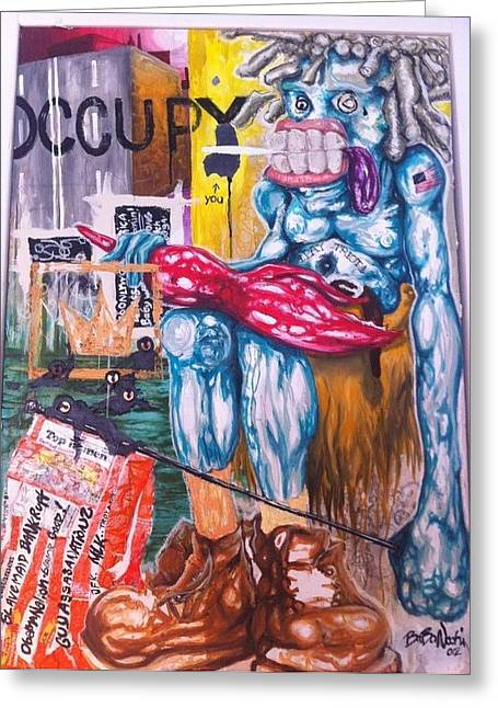 Occupy Greeting Cards - Occupy wall-street Greeting Card by BaBa Nochi