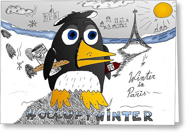 Occupy Drawings Greeting Cards - Occupy Winter in Paris Greeting Card by Yasha Harari