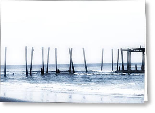 Ocean Panorama Digital Art Greeting Cards - Ocean City 59th Street Pier Panorama Greeting Card by Bill Cannon