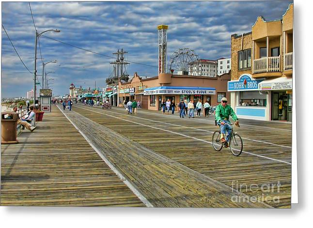 People Greeting Cards - Ocean City Boardwalk Greeting Card by Edward Sobuta