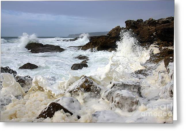 Stones Photographs Greeting Cards - Ocean Foam Greeting Card by Carlos Caetano