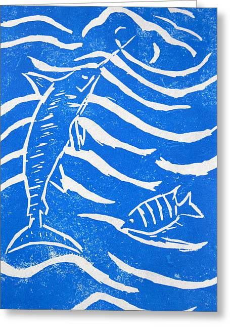 Linocut Paintings Greeting Cards - Ocean Fun Greeting Card by Marita McVeigh