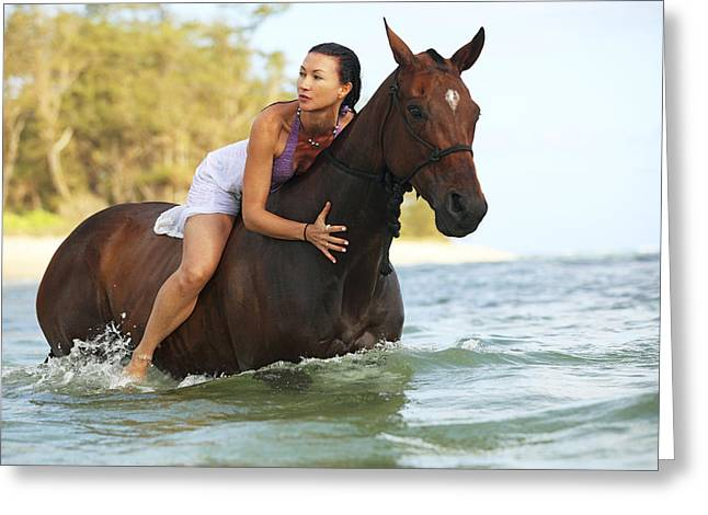 Vince Greeting Cards - Ocean Horseback Rider Greeting Card by Vince Cavataio