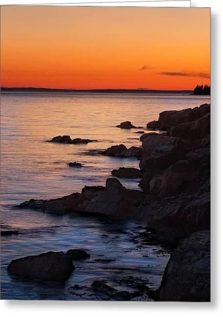 Maine Park Greeting Cards - Ocean Light Greeting Card by Steve Gadomski