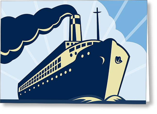 Passenger Ship Greeting Cards - Ocean liner boat Greeting Card by Aloysius Patrimonio
