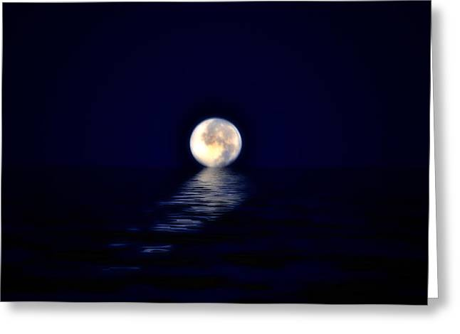 Ocean Moon Greeting Card by Bill Cannon