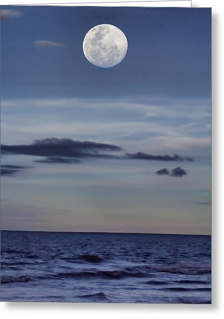 Ocean Moon Greeting Card by Douglas Barnard