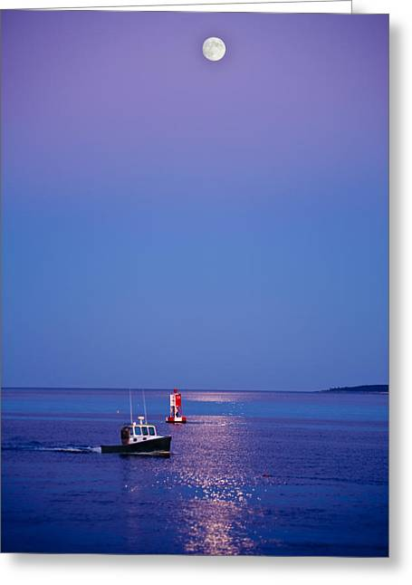 Maine Greeting Cards - Ocean Moonrise Greeting Card by Steve Gadomski