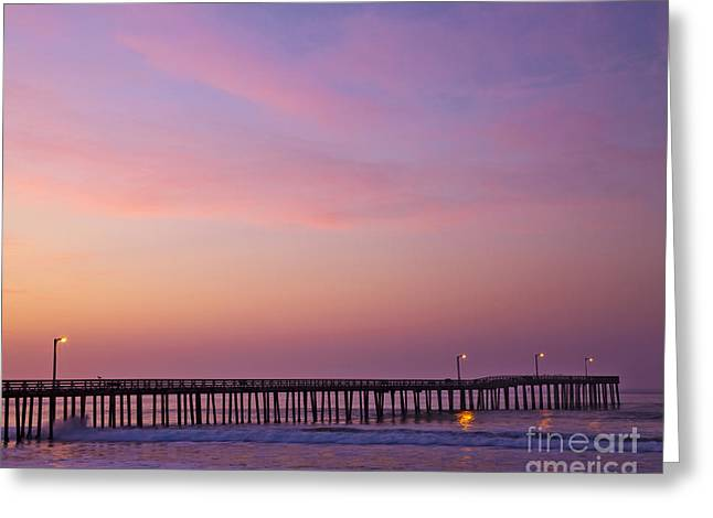 Beach At Night Greeting Cards - Ocean Pier at Dawn Greeting Card by David Buffington