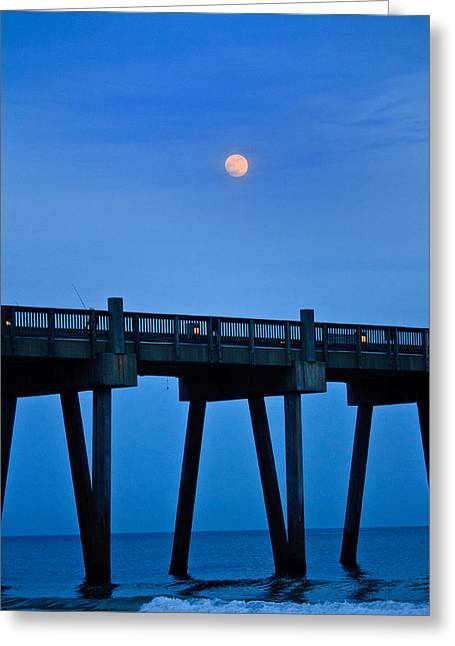 Beach At Night Greeting Cards - Ocean pier at dusk Greeting Card by Kris Napier