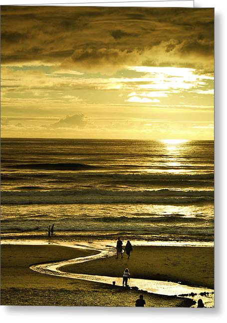 Lincoln City Greeting Cards - Ocean Play 2 Greeting Card by Dale Stillman