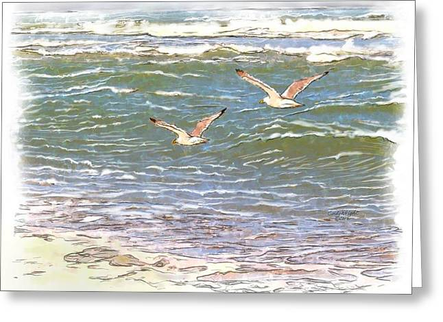 Flying Seagull Mixed Media Greeting Cards - Ocean Seagulls Greeting Card by Cindy Wright